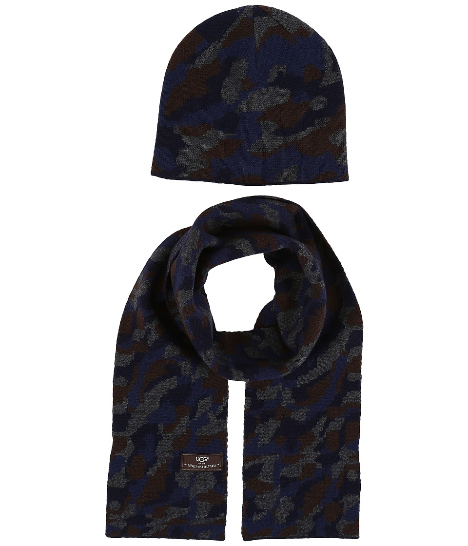 UGG Kids - Camo Beanie and Scarf Boxed Set (Toddler/Little Kids) (Navy Multi) Beanies