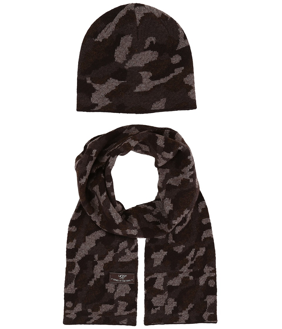 UGG Kids - Camo Beanie and Scarf Boxed Set (Toddler/Little Kids) (Stout Heather Multi) Beanies