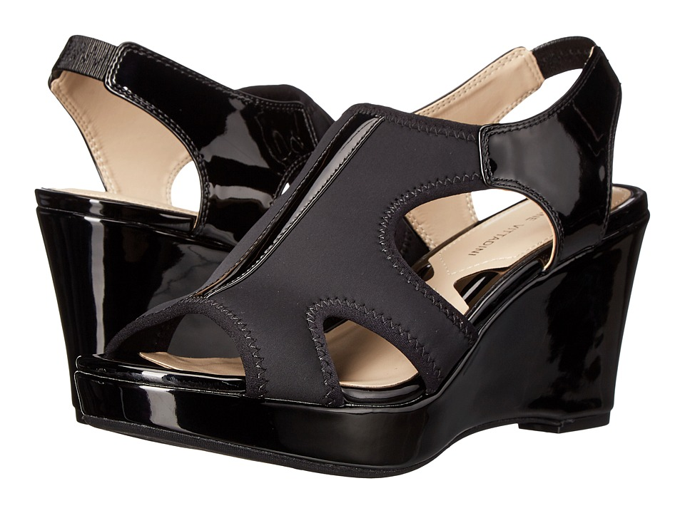 Adrienne Vittadini - Clove (Black Stretch Patent) Women's Wedge Shoes