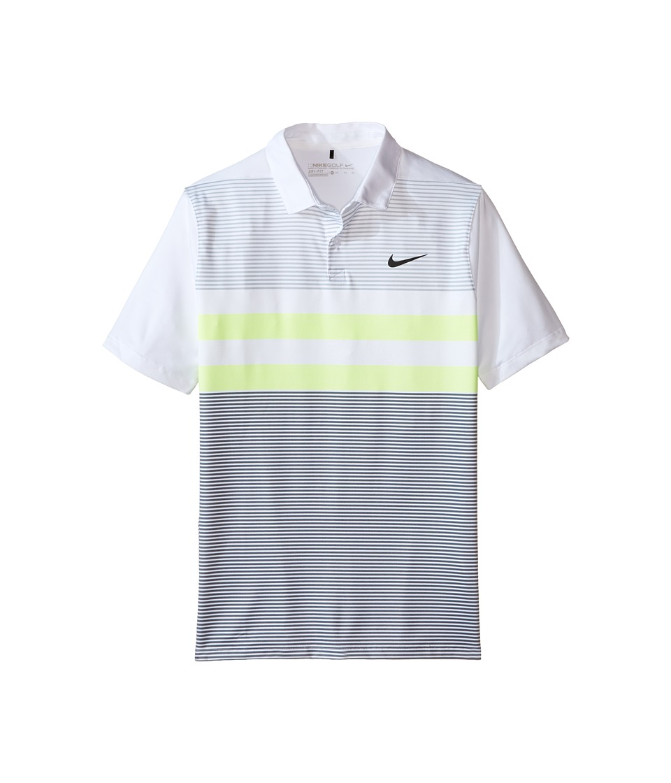 Nike Kids - Transition Dry Stripe Polo (Little Kids/Big Kids) (White/Black) Boy's Short Sleeve Pullover