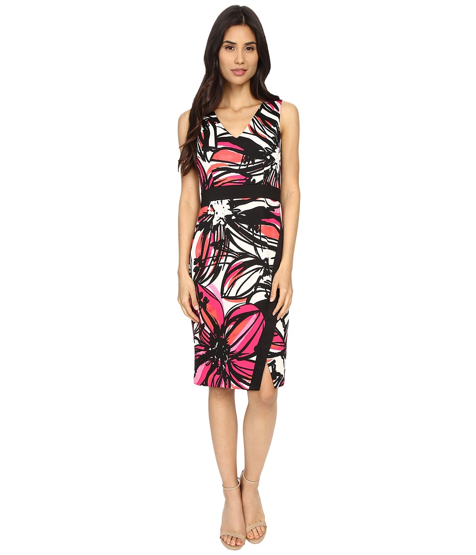 Maggy London - Scribble Daisy Printed Scuba Sheath w/ Scissor Skirt (White/Party Pink) Women's Dress