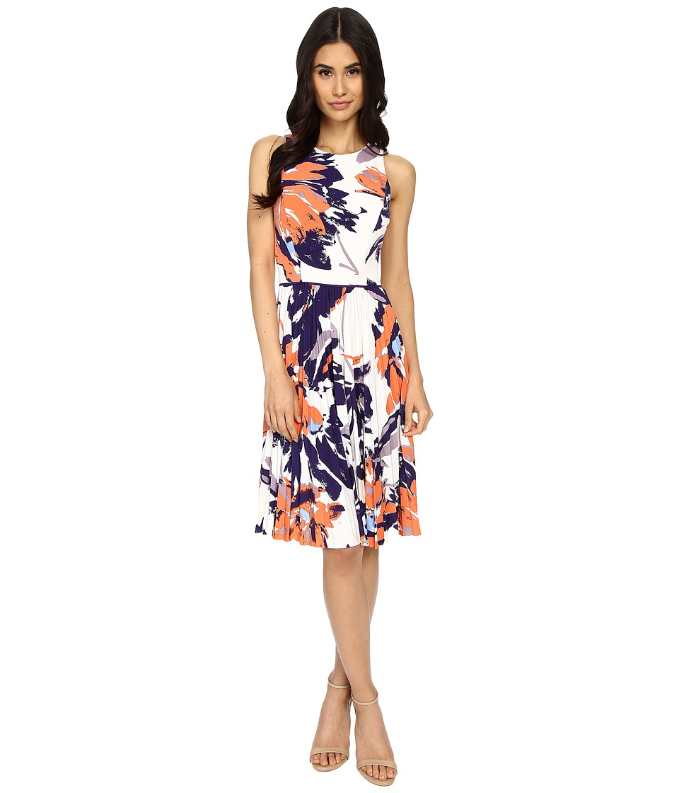 Maggy London - Tree Peony Printed Jersey Flare w/ Pleated Skirt (Soft White/Orange) Women