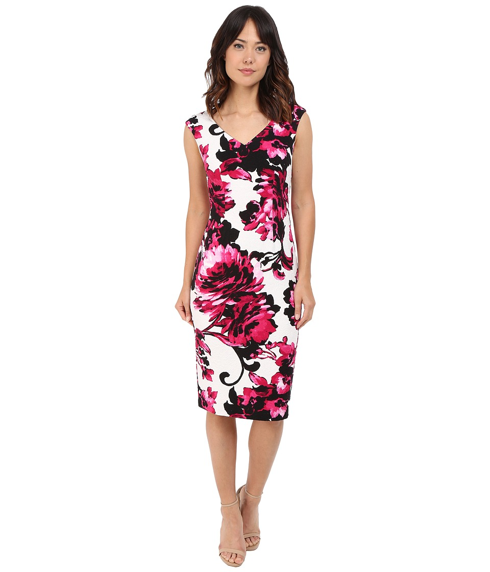 Maggy London - Print Blossom Sheath Texture Dress (Soft White/Party Pink) Women's Dress