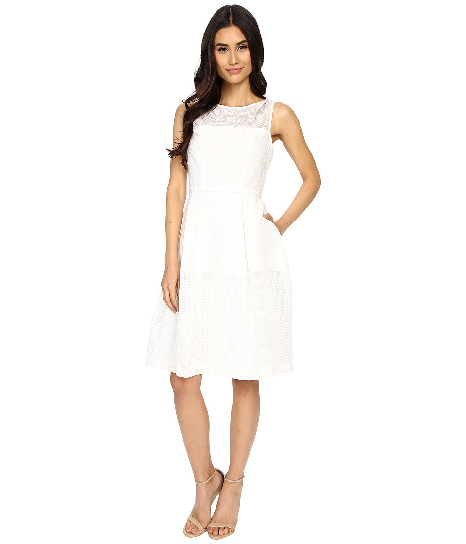 Maggy London - Jacquard Lino Stripe Fit and Flare Dress (White) Women's Dress