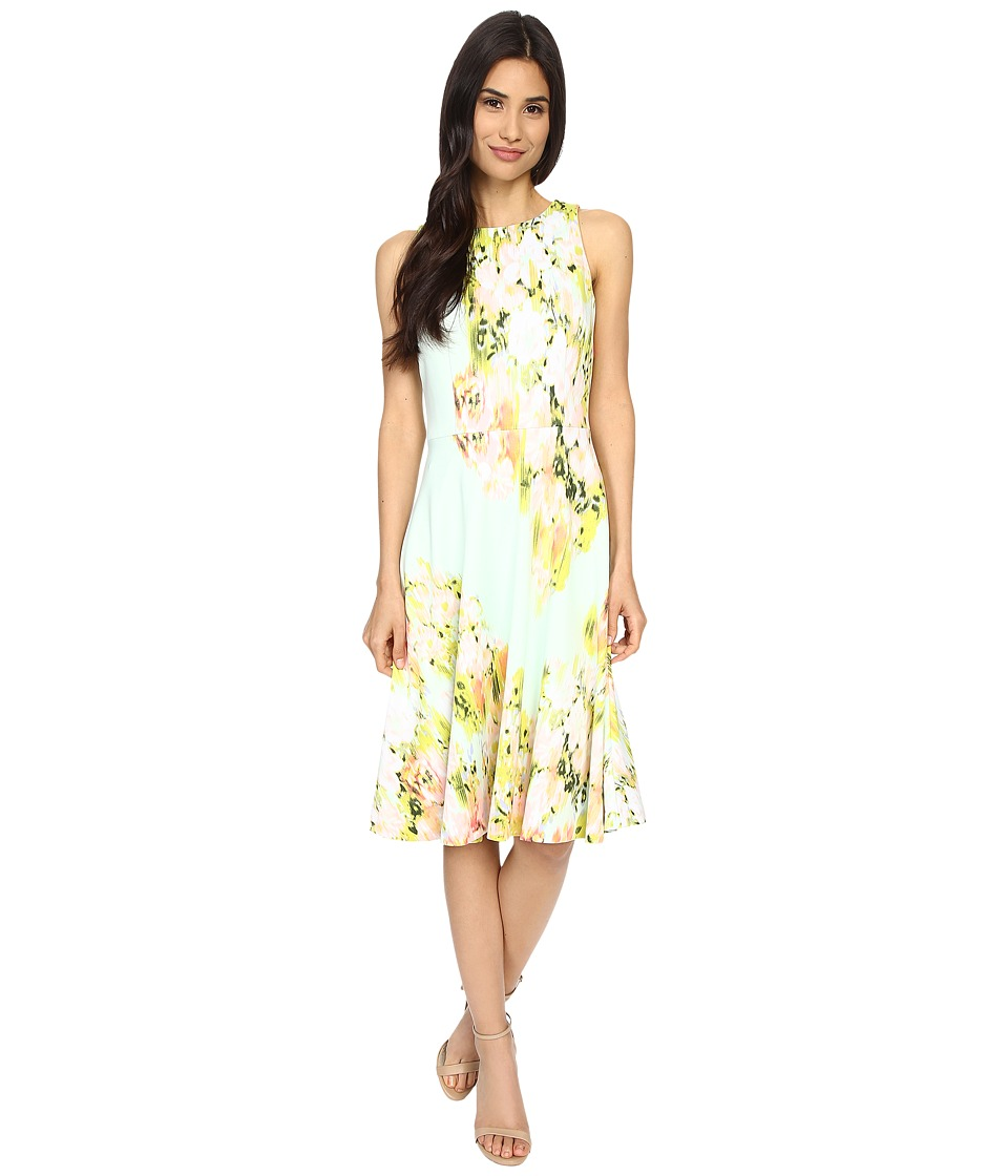 Maggy London - Water Wash Garden Printed Scuba Fit and Flare Dress (Mint/Pink) Women's Dress
