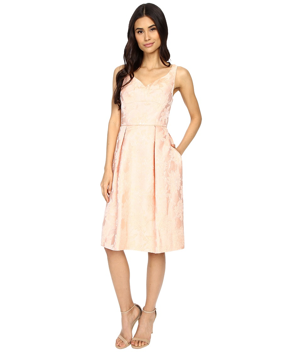 Maggy London - Mum Jacquard Fit and Flare Dress (Coral) Women's Dress