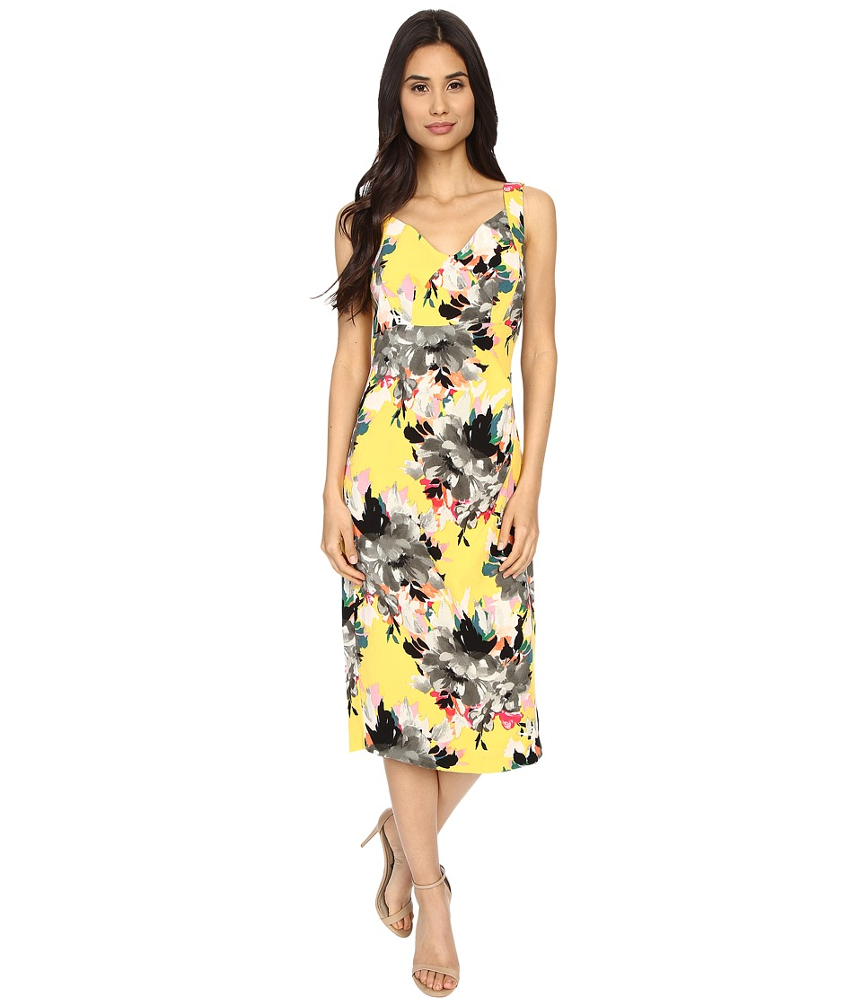 Maggy London - Peony Bouquet Printed Crepe Sheath Dress (Yellow/Grey) Women's Dress