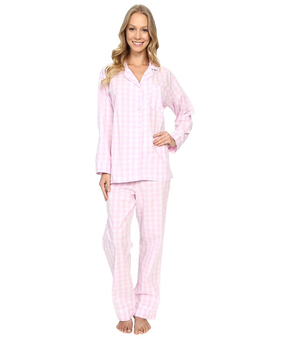 BedHead - Classic Cotton Sateen PJ Set (Pink Gingham) Women's Pajama Sets