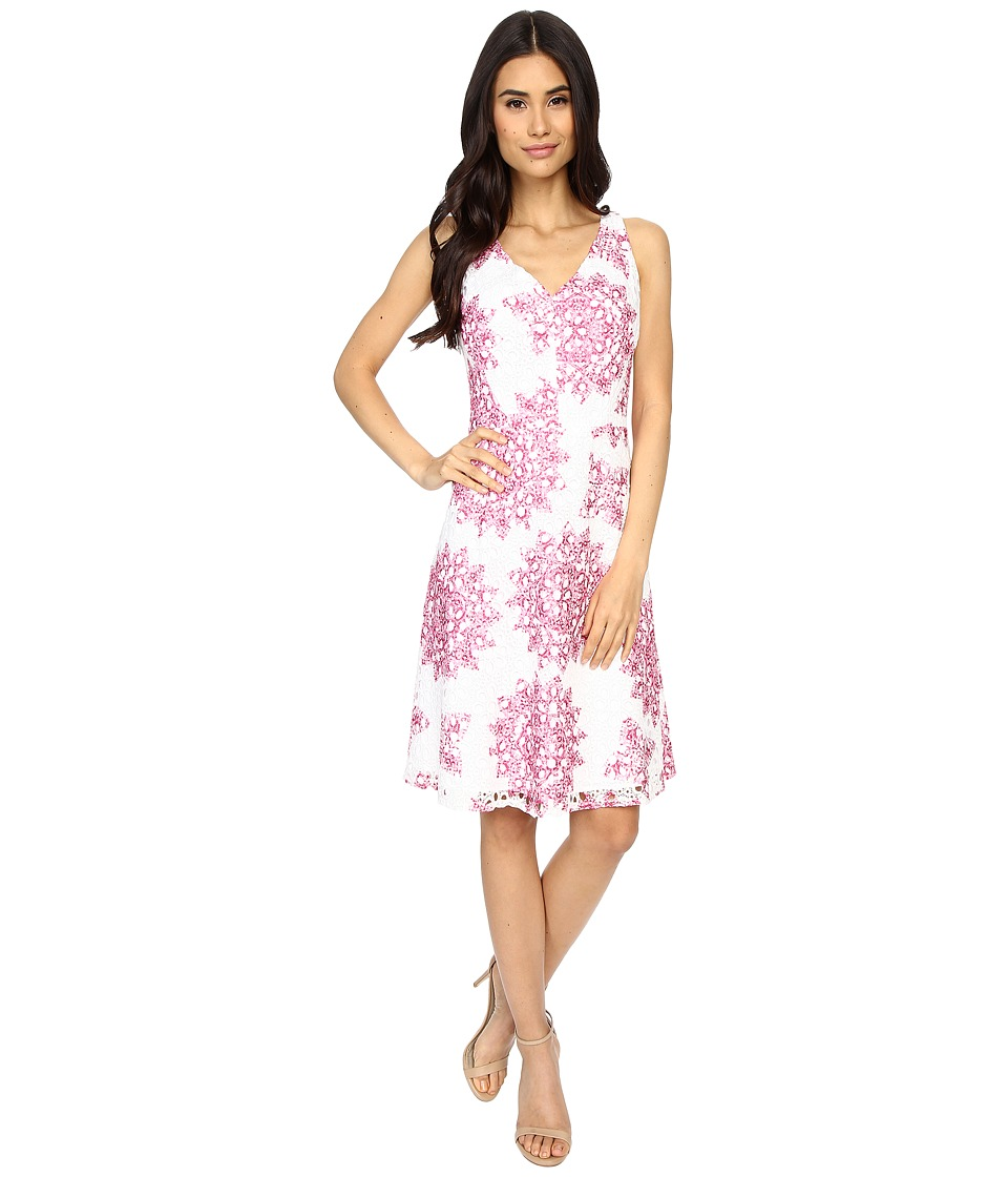 Maggy London - Star Medallion Printed Lace Fit and Flare Dress (White/Party Pink) Women's Dress