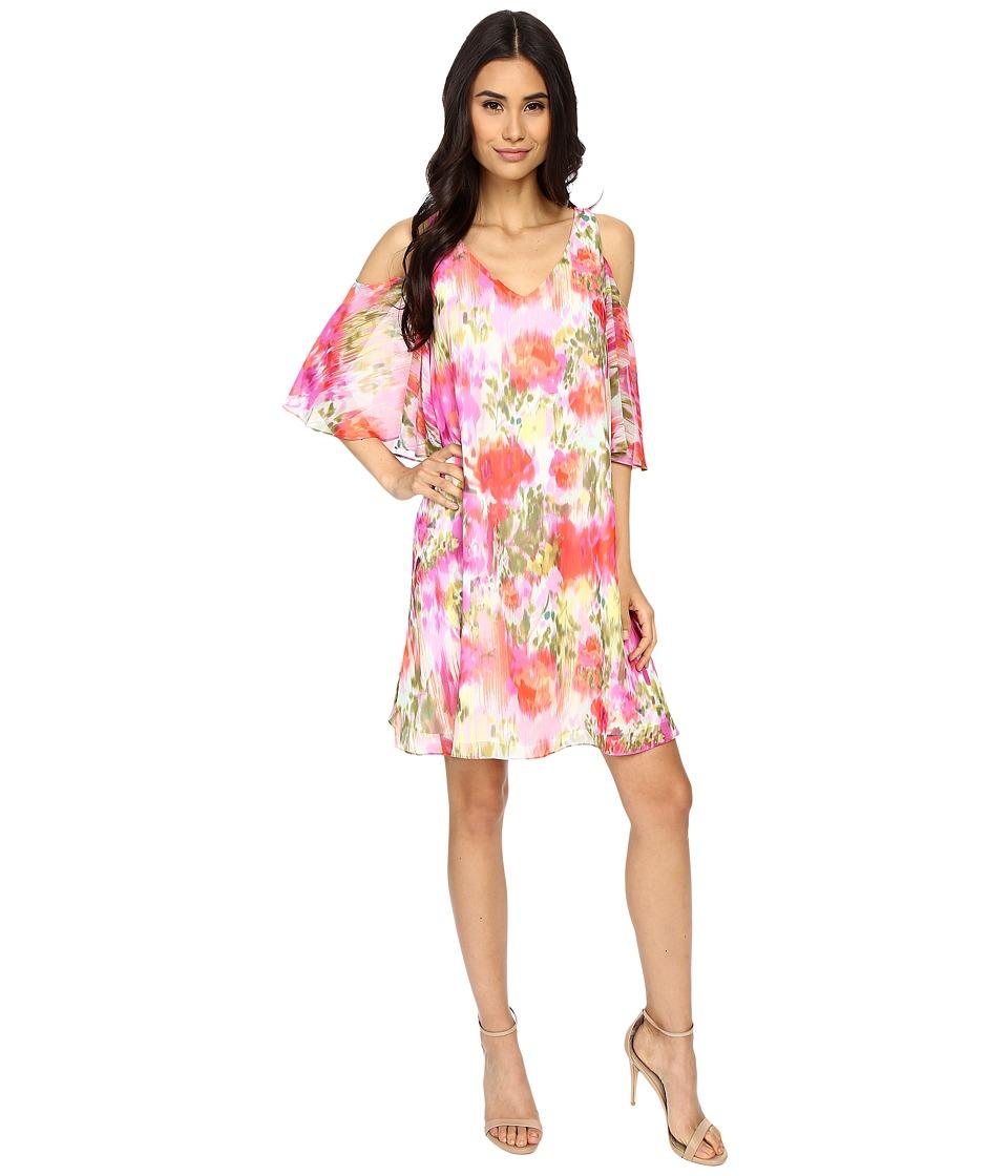 Maggy London Brushed Flower Chiffon w/ Cold Shoulder Dress (Pink) Women