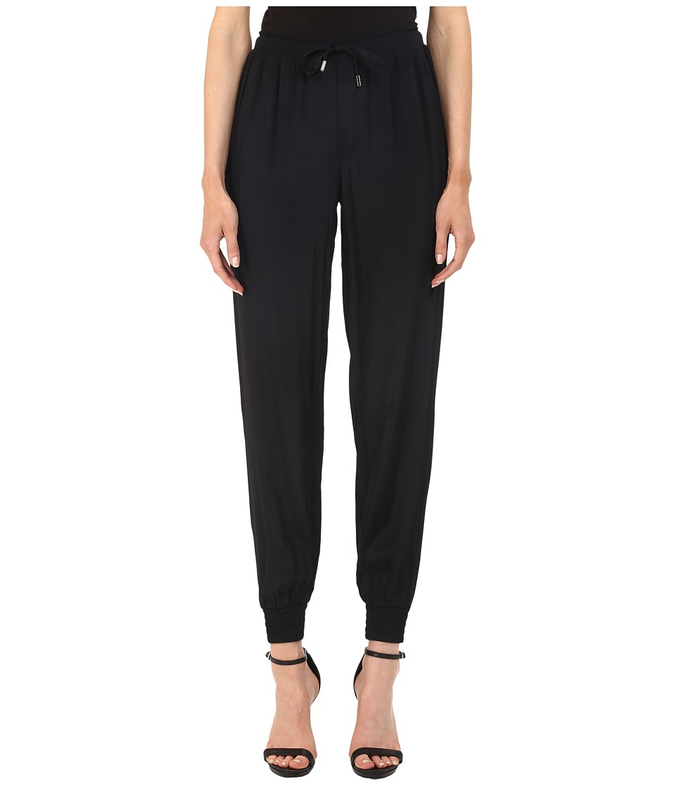 Armani Jeans - Viscose Printed and Solid Crepe Trousers (Black) Women's Casual Pants