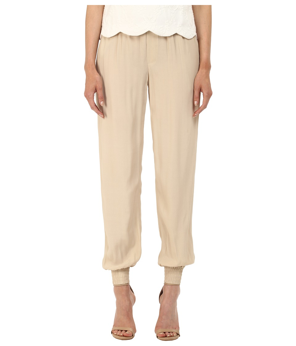 Armani Jeans - Viscose Printed and Solid Crepe Trousers (Beige) Women's Casual Pants