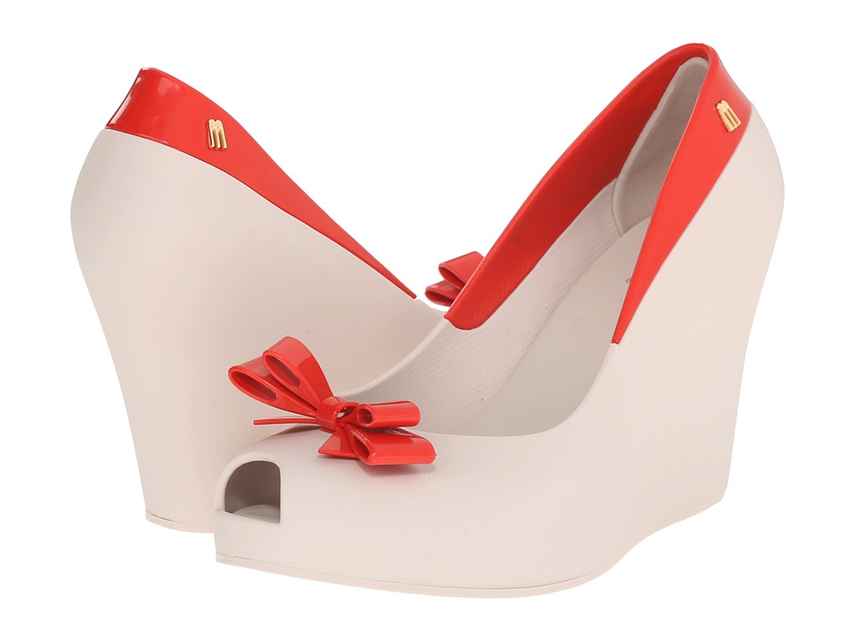 Melissa Shoes Queen Wedge (Beige Red) Women