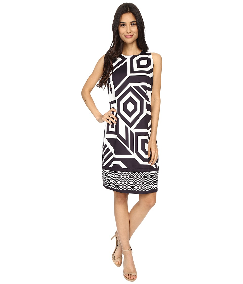 London Times - Sleevesless Print Shift Dress (Cream/Black) Women's Dress