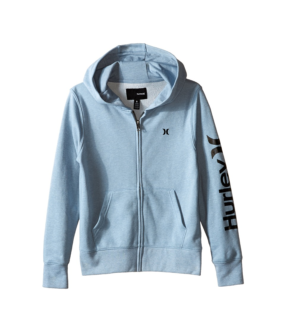 Hurley Kids - One Only Full Zip Hoodie (Big Kids) (Blue/Gray Heather) Boy's Sweatshirt