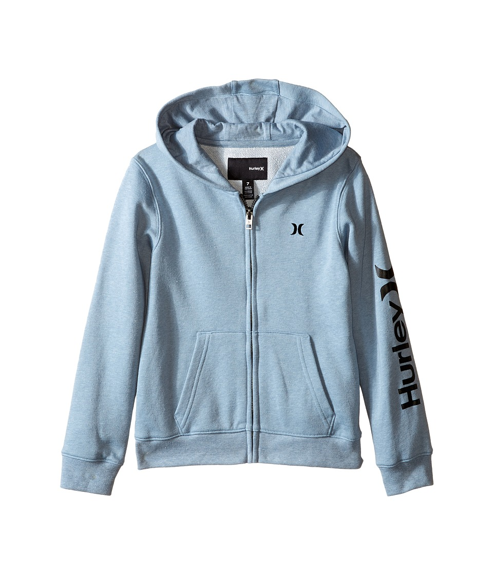 Hurley Kids - One Only Front Zip Hoodie (Little Kids) (Blue/Gray Heather) Boy's Sweatshirt