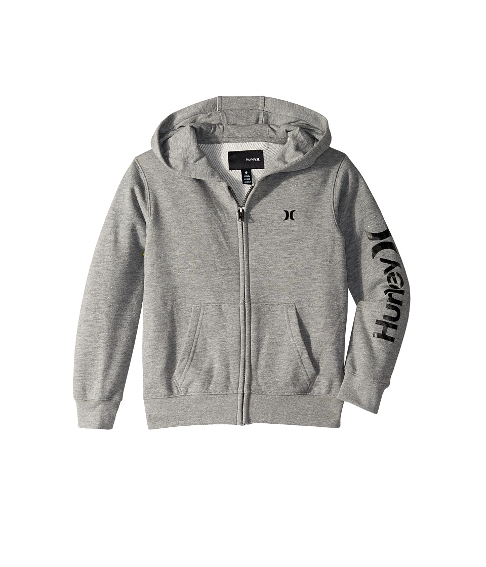Hurley Kids - One Only Front Zip Hoodie (Little Kids) (Dark Grey Heather) Boy's Sweatshirt