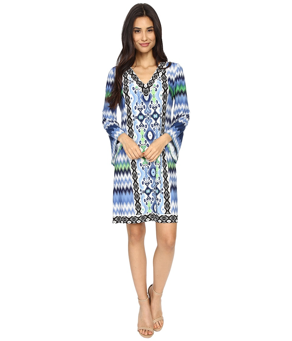 London Times - Chevron Ikat Jersey Shift (Blue) Women's Dress