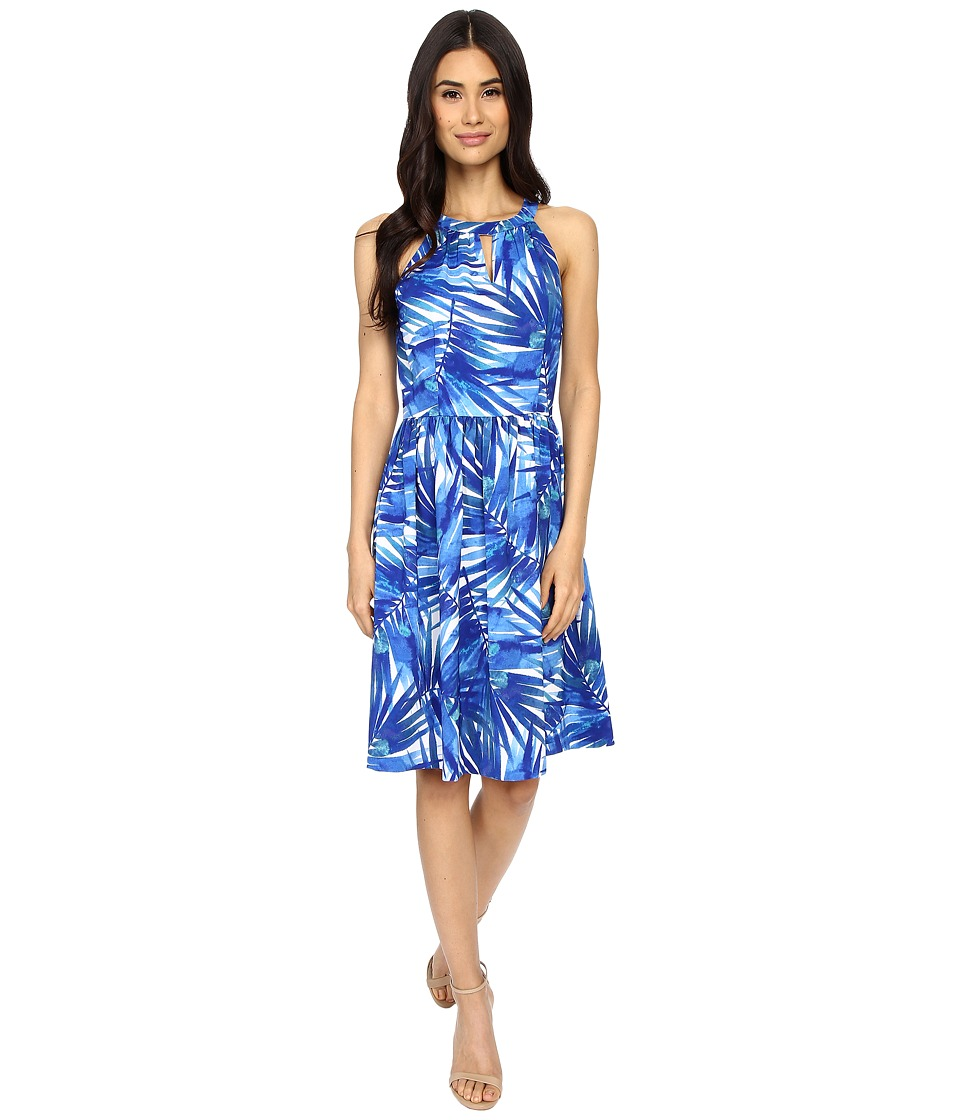 London Times - Caribe Palm Halter Fit Flare (Blue) Women's Dress