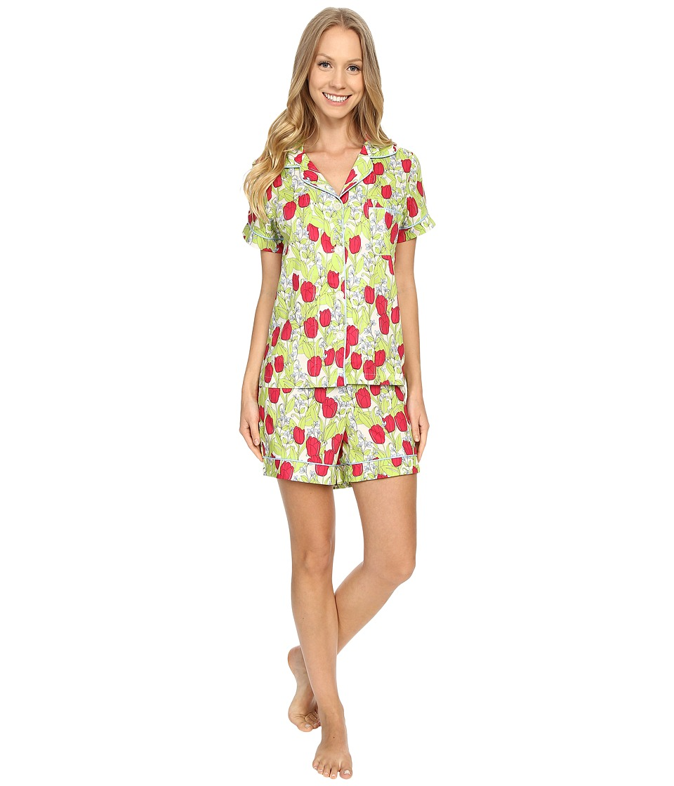 BedHead - Short Sleeve Classic Short Pajama Set (Rouge Holland Tulip) Women's Pajama Sets