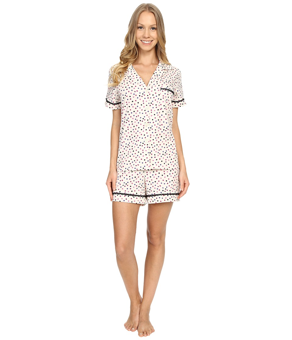 BedHead - Short Sleeve Classic Short Pajama Set (Ticker Tape) Women's Pajama Sets
