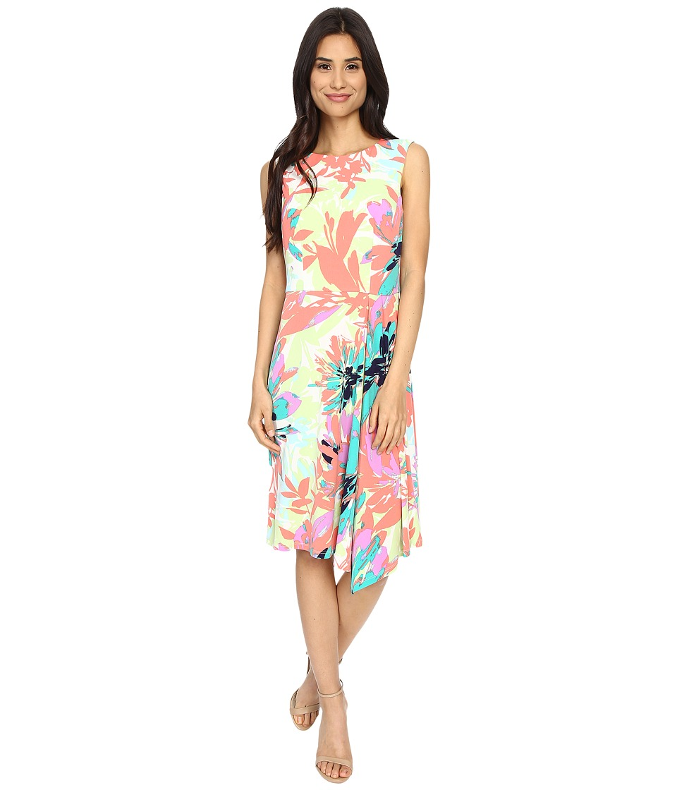 London Times - Sun Filled Bloom Cascade Pleat (Coral Multi) Women's Dress