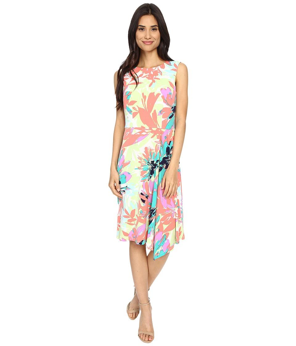 London Times - Sun Filled Bloom Cascade Pleat (Coral Multi) Women's Dress