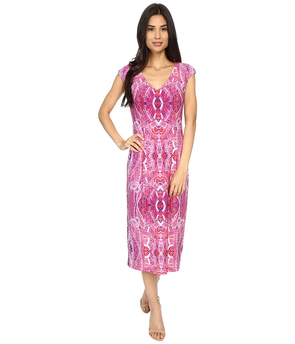 London Times - Paisley Carpet Cap Sleeve Sheath (Pink) Women's Dress