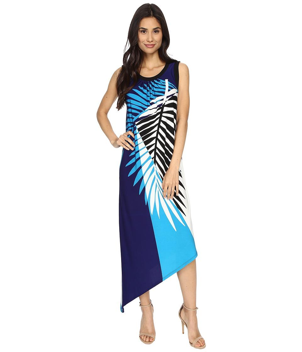 London Times - Palm Branch Sleeveless Asymmetrical (Soft White/Blue) Women's Dress