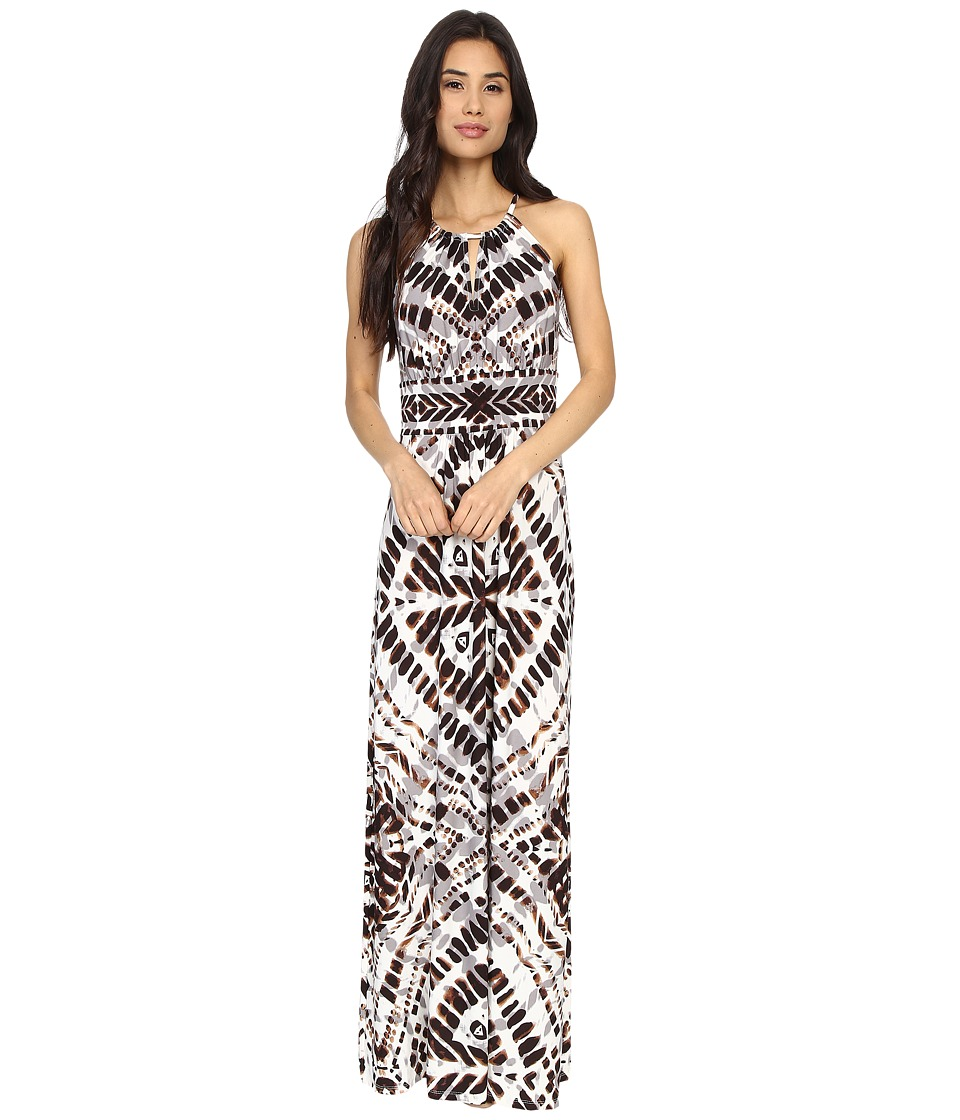 London Times - Woodstamp Batik Maxi (Soft White/Brown) Women's Dress