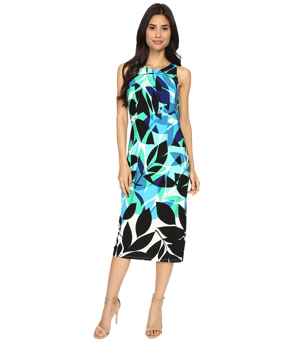 London Times - Flat Shadow Leaf Sheath (Blue) Women's Dress