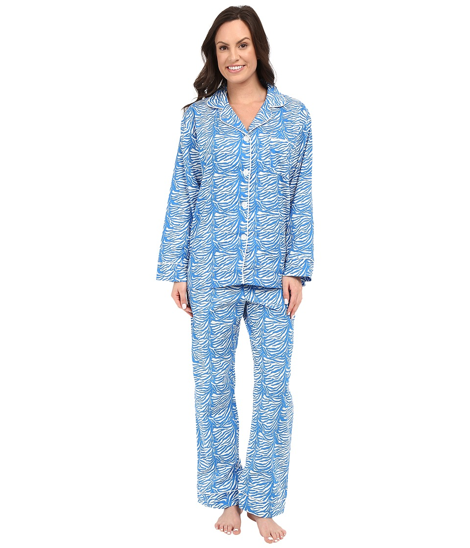 BedHead - Poplin Notch Collar PJ (Blue Zebra) Women's Pajama Sets