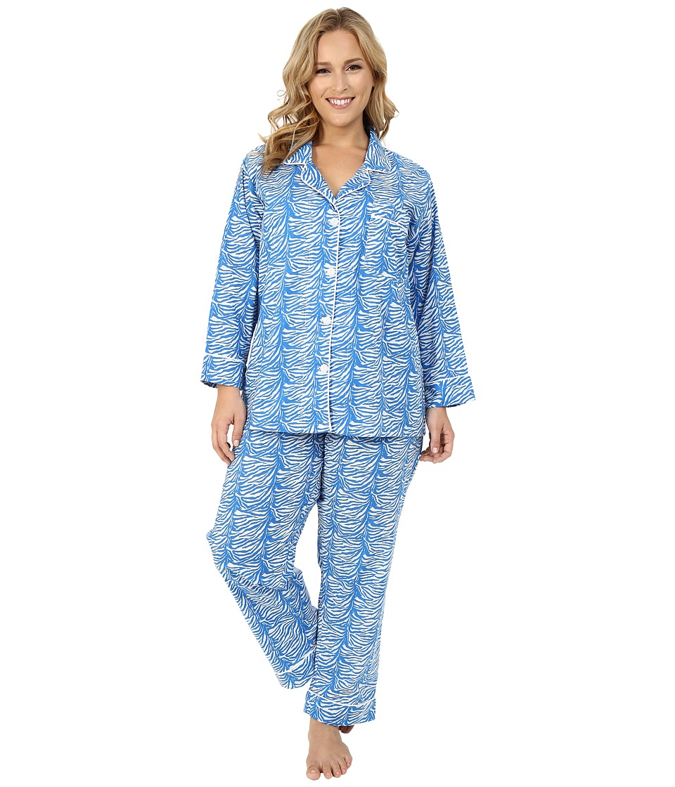 BedHead - Classic Notch Collar PJ Plus Size (Blue Zebra) Women's Pajama Sets
