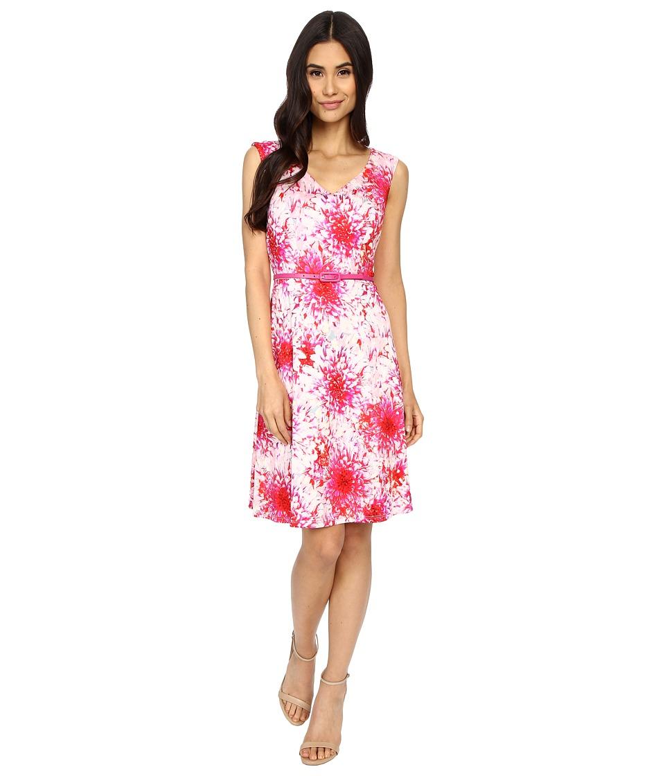 London Times - Spring Dahlia Belted Drop Skirt (Magenta) Women's Dress