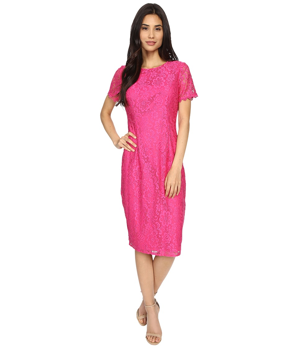 London Times - Fun Flower Lace Midi Sheath (Pink) Women's Dress