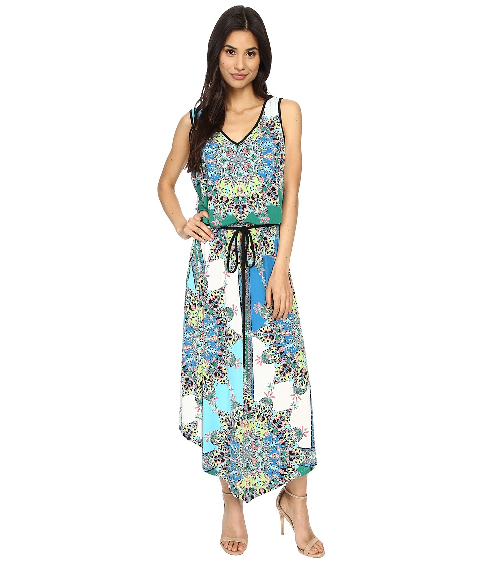 London Times - Kaleidescope Medallion Maxi (Blue Multi) Women's Dress