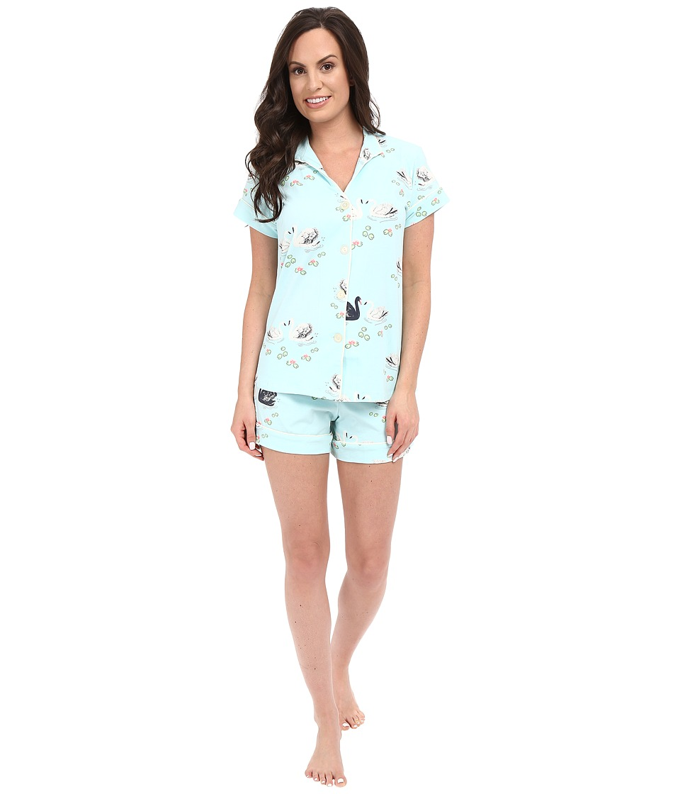 BedHead - Cap Sleeve Mandarin Collar Short Set (Swan Lake) Women's Pajama Sets