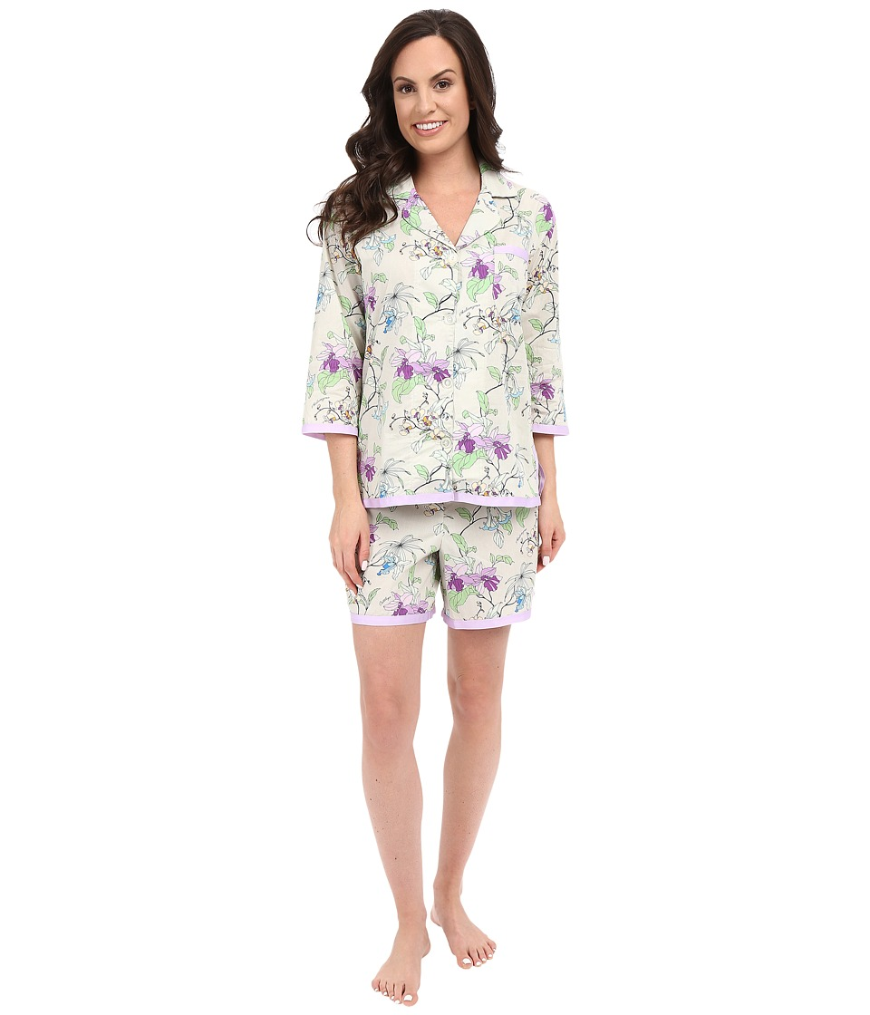 BedHead - Ribbon Short Pajama Set (Gray Orchd Thief) Women's Pajama Sets