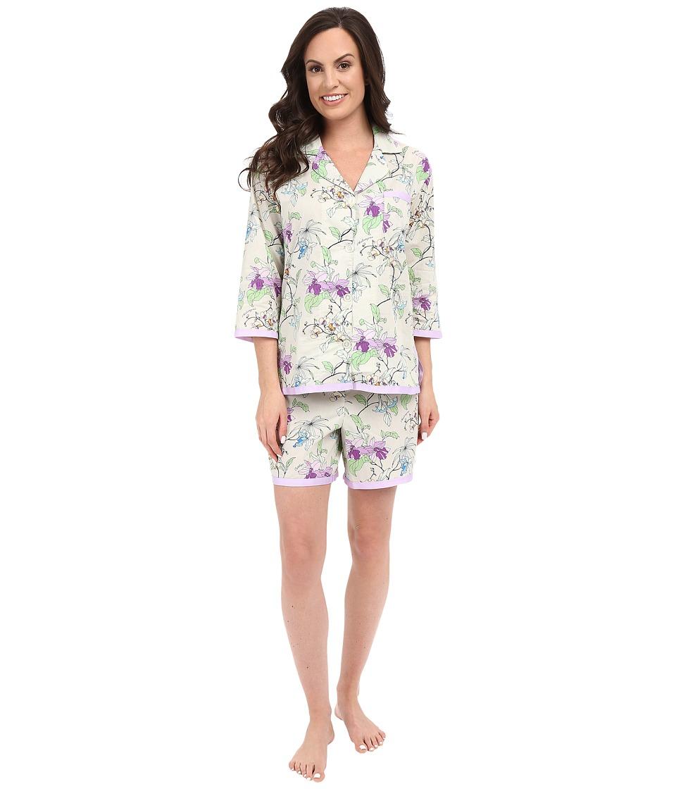 BedHead - Ribbon Short Pajama Set (Gray Orchd Thief) Women's Pajama Sets