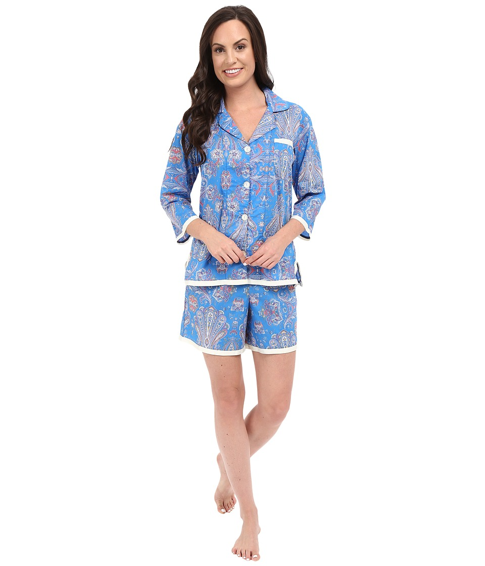BedHead - Ribbon Short Pajama Set (Paisley Park Blue) Women's Pajama Sets