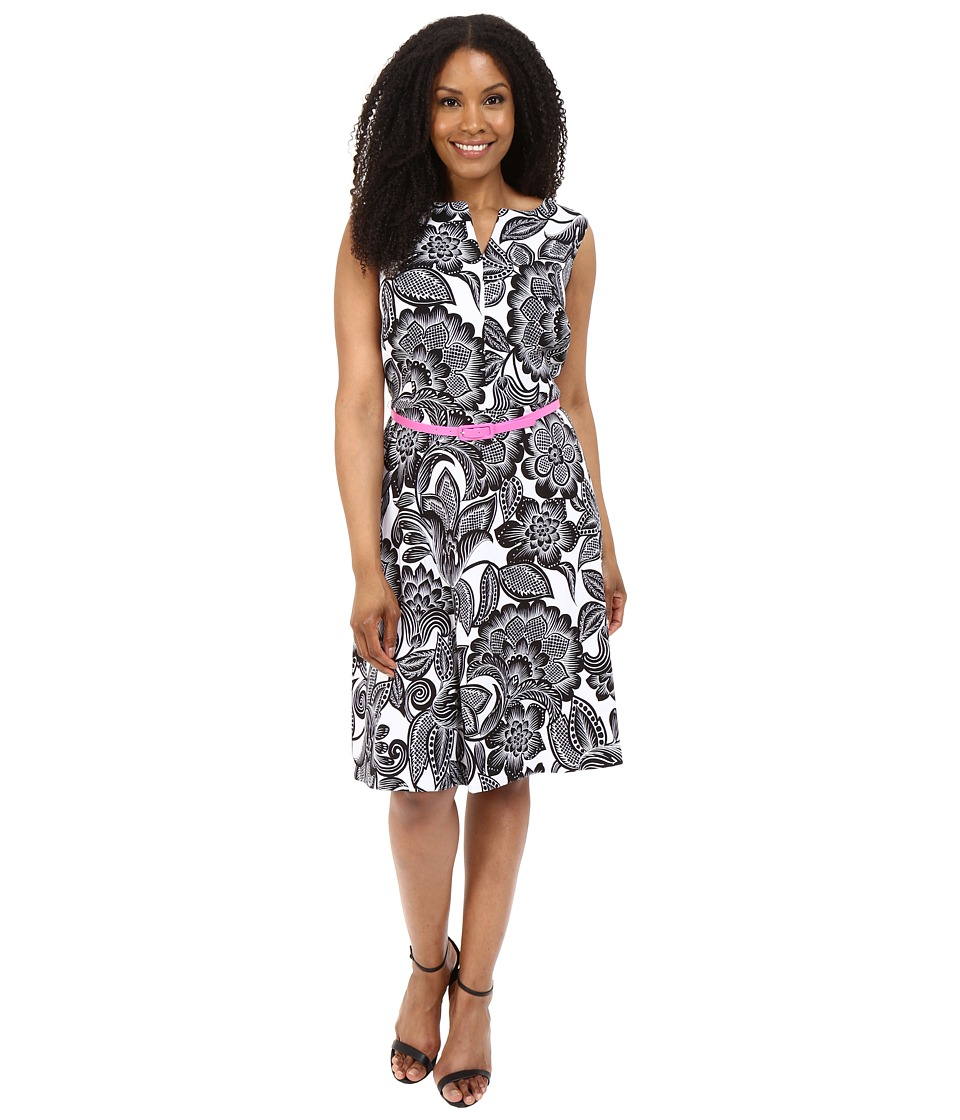 London Times - Plus Size Wallpaper Leaf Belted Full Skirt (Soft White/Black) Women's Dress