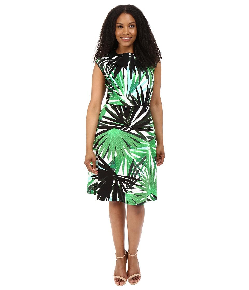 London Times - Plus Size Jungle Palm Cap Sleeve Full Skirt (Green) Women's Dress