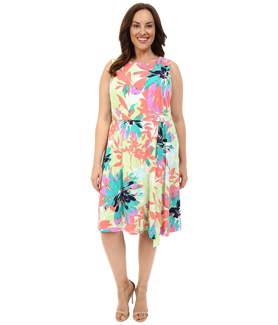 London Times - Plus Size Sun Filled Bloom Cascade Pleat (Coral Multi) Women's Dress
