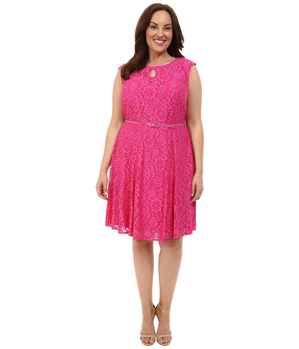 London Times - Plus Size Fun Flower Lace Fit and Flare (Pink) Women's Dress
