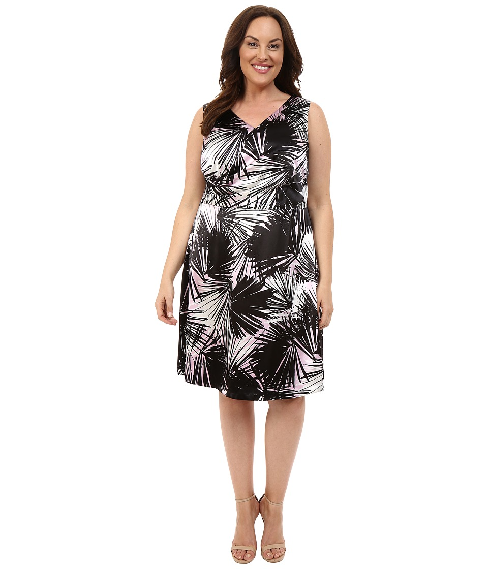 London Times - Plus Size Pool Palm V-Neck Full Skirt (Rose/Black) Women's Dress