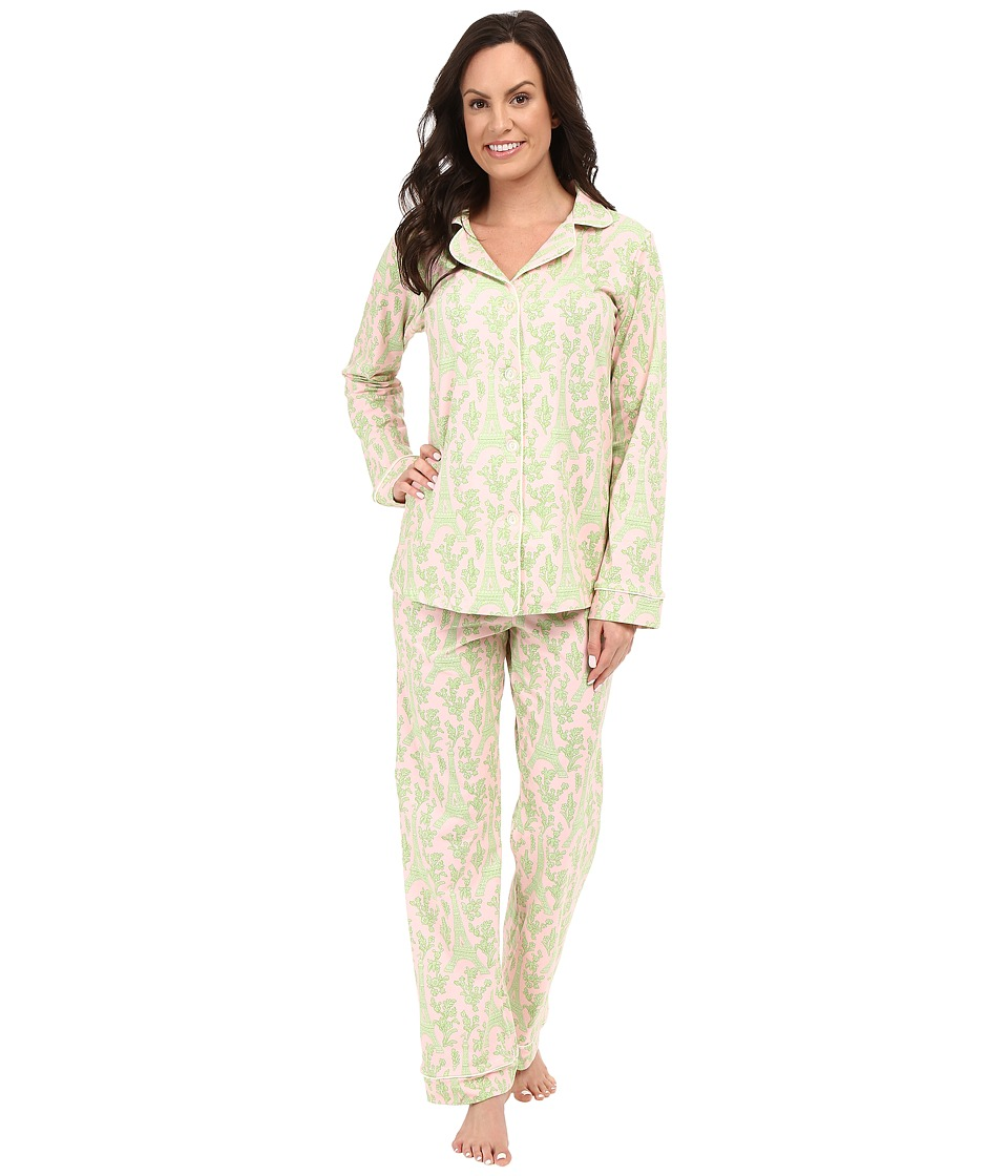 BedHead - Classic Stretch PJ Set (Pink Green Eiffel Tower) Women's Pajama Sets