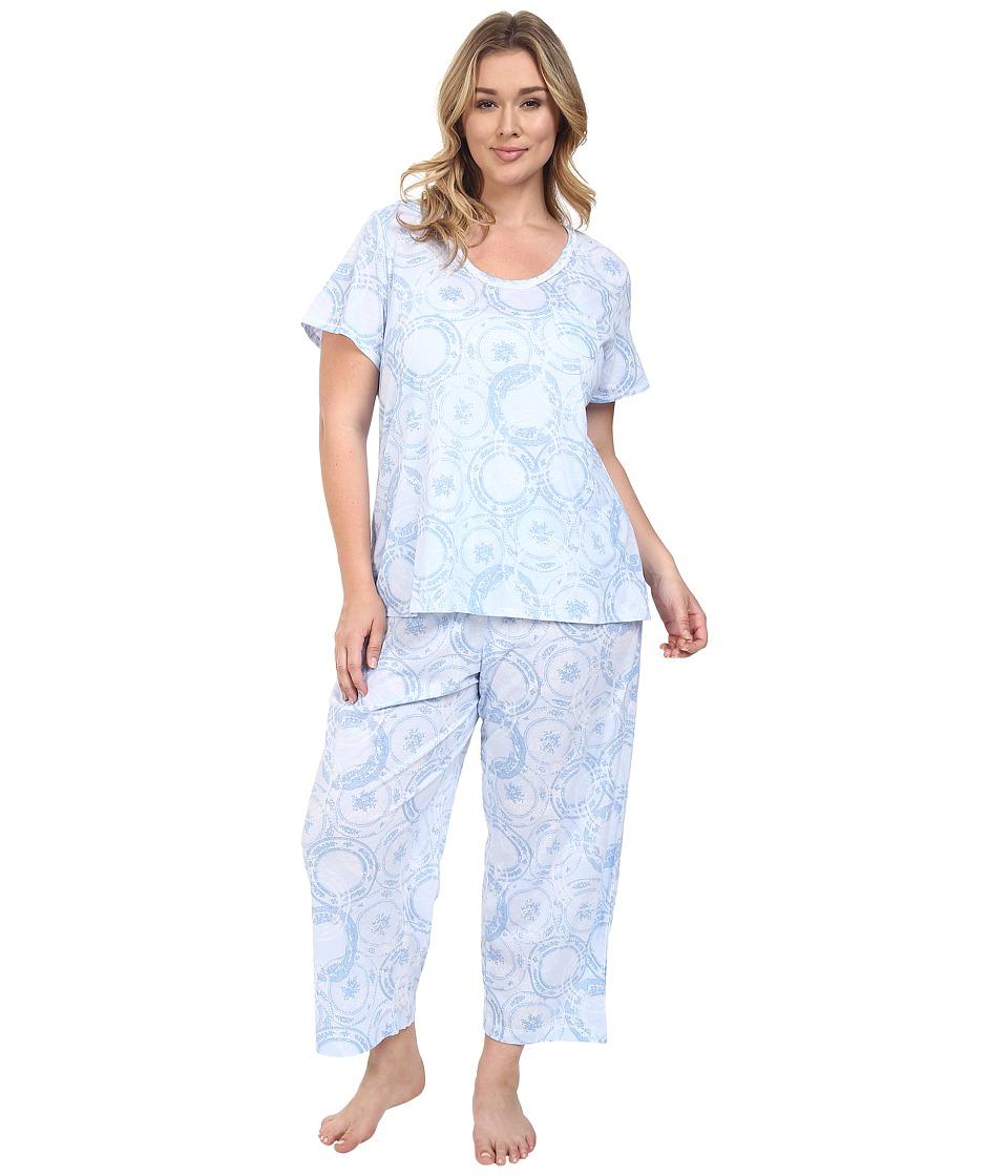 Carole Hochman - Plus Size Capris Pajama (Blue Porcelain) Women's Pajama Sets