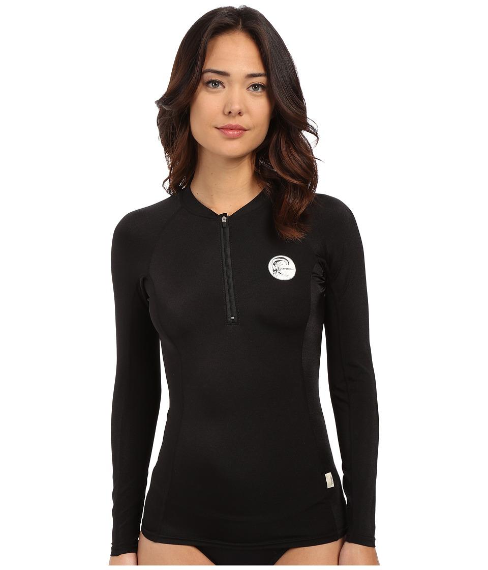 O'Neill - Front Zip Long Sleeve Crew (Black/Black/Black) Women's Swimwear