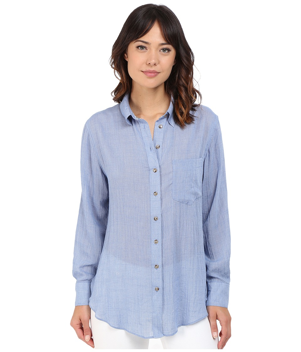 Free People - That's A Wrap Shirt (Blue) Women's Blouse