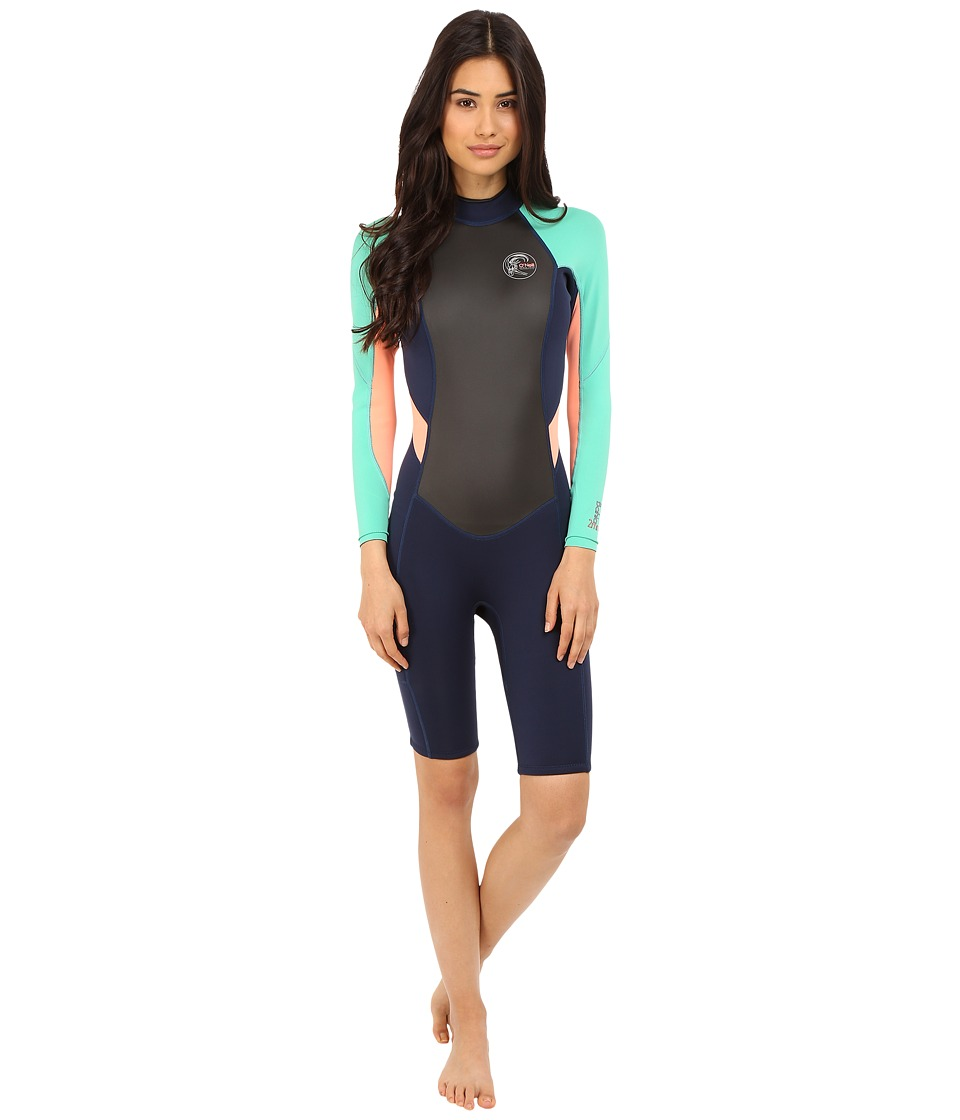 O'Neill - Bahia Long Sleeve Spring (Navy/Seaglass/Light Grapefruit) Women's Wetsuits One Piece
